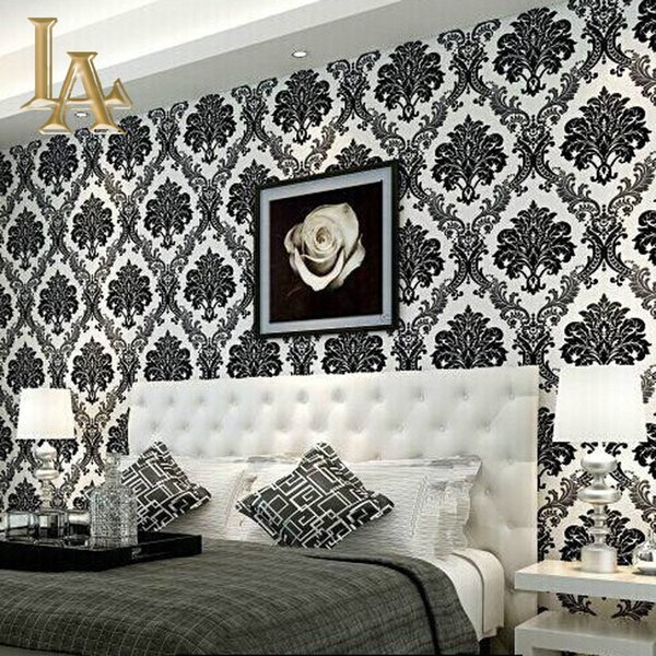Wholesale European Embossed Flocking Black Damask Wallpaper 3d Living Room Bedroom Luxury Home Decor Modern