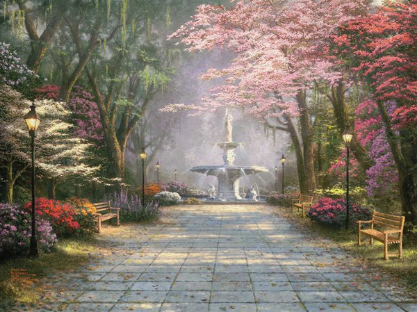 Thomas Kinkade Oil Paintings Art Reproduction Campus scenery Landscape HD Picture High Quality Giclee Print On Canvas Modern Art Home Decor