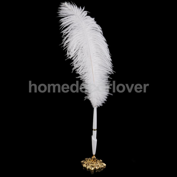 Wholesale-White Ostrich Quill Feather Signing Pen & Gorgeous Holder Wedding Guest Book