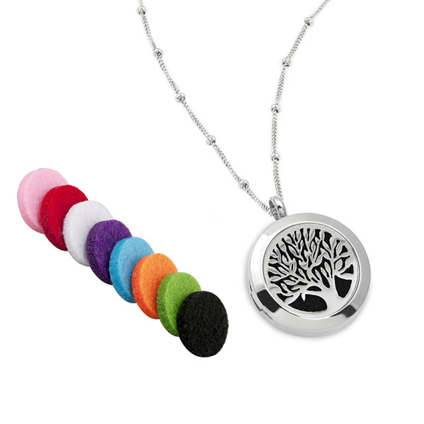 """316L Surgical Grade Stainless Steel Aromatherapy Essential Oil Diffuser Necklace 22"""" Chain 6 Washable Pads Jewelry Bag"""