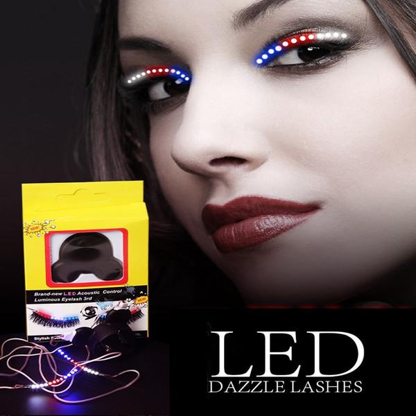 Sound-control Dazzl LED Eyelashes Light 12 Color Unisex Flashes Interactive Changing LED False Lashes Shining Eyeliner Perfect for Party