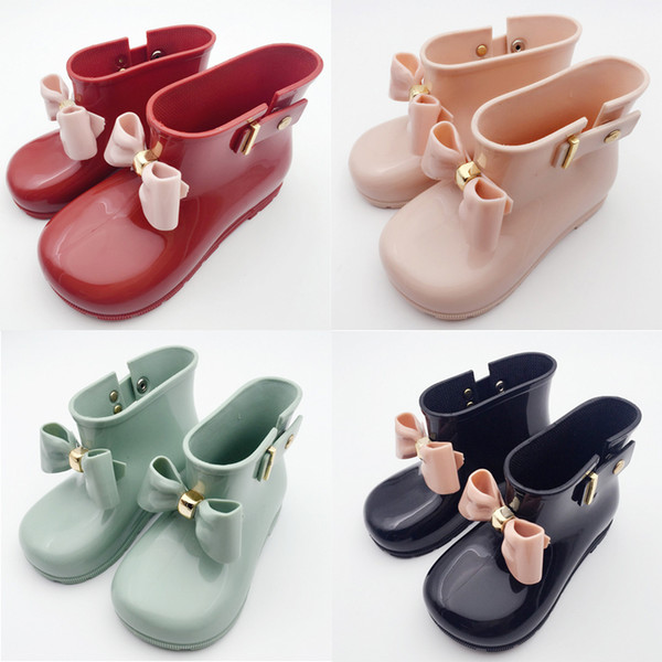 best selling Fashion Girls Rain Boots Kids Children Butterfly Knot Bow Baby Girl Princess Casual Shoes Waterproof Anti-slip Boots Kids Shoes 713
