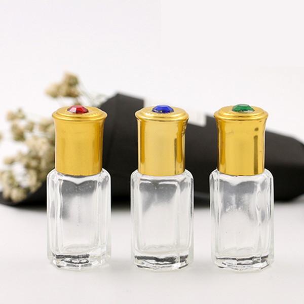 6ML portable octagonal ROLL ON oil bottles packing roll on bottle glass ball on roller perfume bottles with aluminum cap Home Fragrances