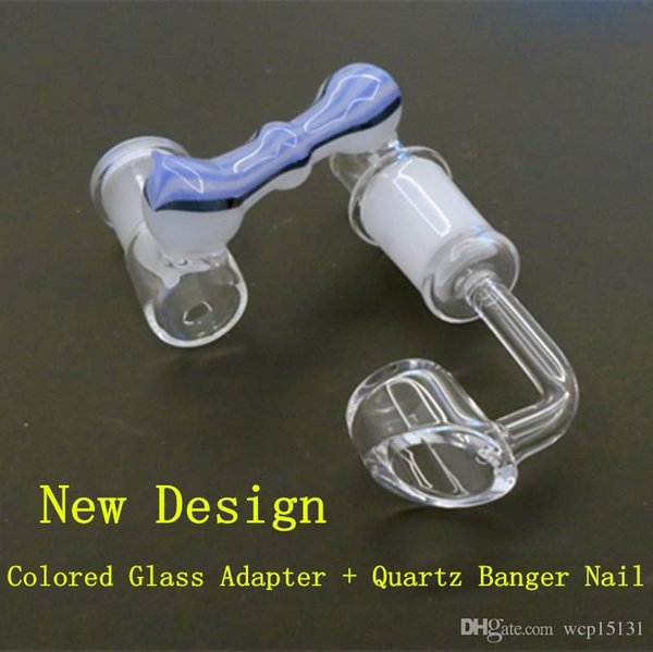 Colored Glass Adapter Dropdown Reclaimer With 4mm Thick Quartz Enail Banger 14mm 19mm Joint for Glass Oil Rigs Hybrid Nail Rig Nails