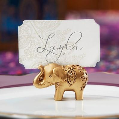 Golden Gold Lucky Elephant Place Card Holder Holders Name Number Table Place Wedding Favor Gift Unique Party Favors LLFA
