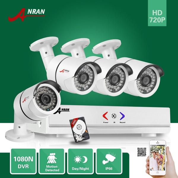 ANRAN 4CH 1080N AHD DVR 4pcs 1800TVL 720P 36 IR Waterproof Bullet CCTV Video Security Camera Home Surveillance System With 500GB HDD