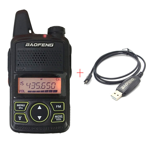 BAOFENG T1 MINI Two Way Radio BF-T1 Walkie Talkie UHF 400-470mhz 20CH Portable Ham FM Radio Handheld Transceiver + USB Programming Cable