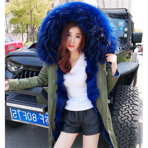 017 army green winter jacket coat women parka real large Raccoon Fur Collar hooded natural fox real fur Thick Warm Fur liner