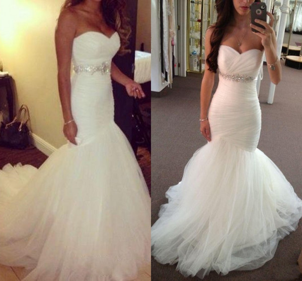 2017 New Vintage Cheap Mermaid Wedding Dresses Sweetheart Crystal Beaded Belt Long Tulle Court Train Custom Plus Size Formal Bridal Gowns