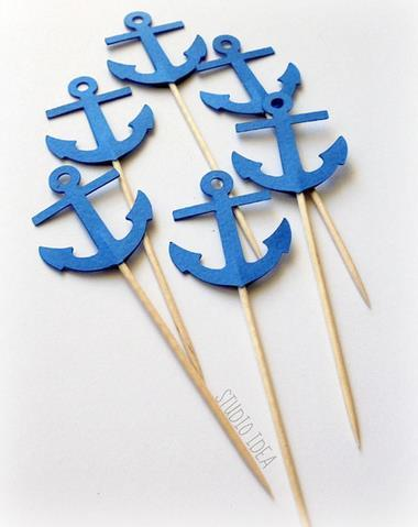 Custom Blue Anchor Cupcake Toppers birthday nautical beach wedding bridal baby shower toothpicks engagement food pick Party Decoration