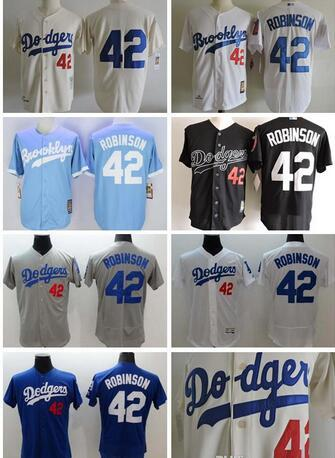 new product 531d3 3edb5 2019 Los Angeles Dodgers #42 Jackie Robinson Baby Blue White Gray Black  1955 Cream Throwback Jersey L.A Dodgers Robinson Retro Baseball Jersey From  ...