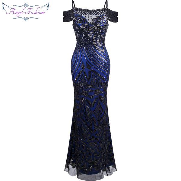 Angel fashions Women Paillette Spaghetti Strap Beauty Sheath Ball Gown Prom Dresses Formal Dress Black 220