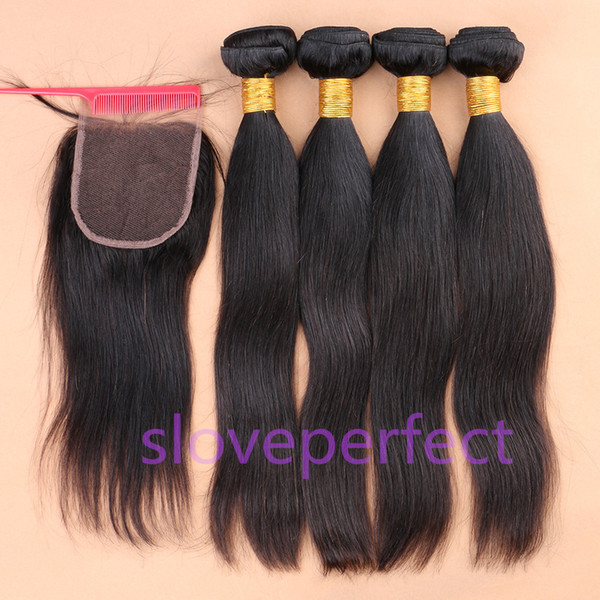 slove Hair Products!Peruvian Human Hair Weft Extension Mix 5pcs/lot Silky Straight Hair Weaving Natural Black Fast Free Shipping!!!