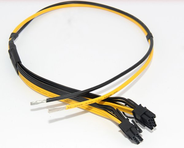100pcs/lot Dual PCIe PCI-E Graphics Video Card 8pin 6+2pin DIY Splitter Power Cable Cord for Bitcoin Litecoin RIG Miner 12AWG+16AWG