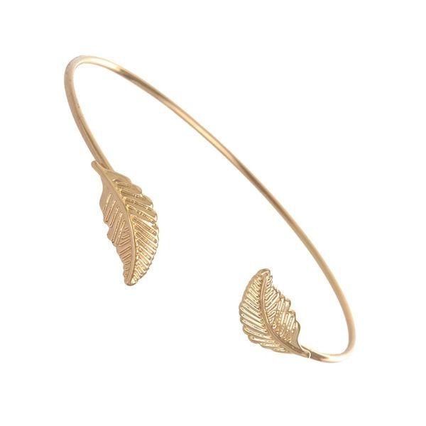 Silver Color Cuff Openning Bangles Bracelet Two Leaf Women Lady Bracelets jl-244