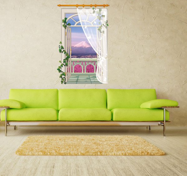SK9022B Vinyl Decals 3D Fake Window Lavender Sticker Background Vine Flower Wall Sticker Mural Home Decor