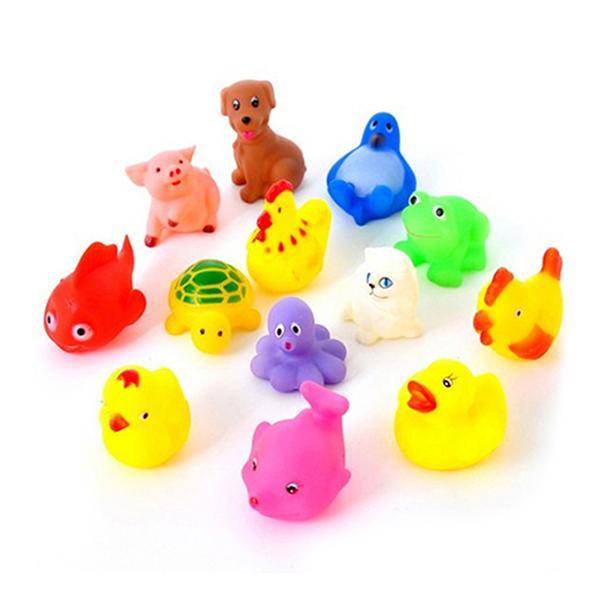 Wholesale- 13Pcs/Set Cute Soft Rubber Duck Float Squeeze Sound Baby Wash Bath Toys Play Animals Toys Kids Bath Toys