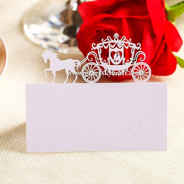 50 Pcs/Lot Pearlescent hollow horse Laser cut Wedding Party invitation Table Decor Name Place Cards Table Name Message Greeting Card
