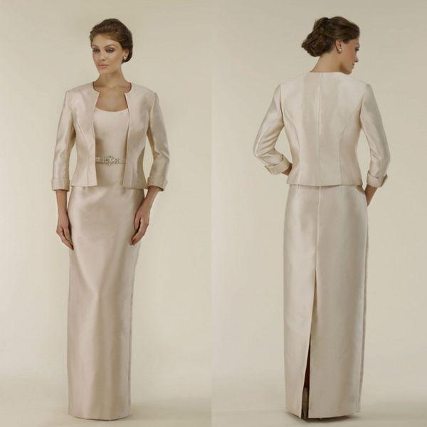 2019 robes de mère de mariée avec veste manches longues ceinture délicate mère de la mariée longueur de plancher robes de bal