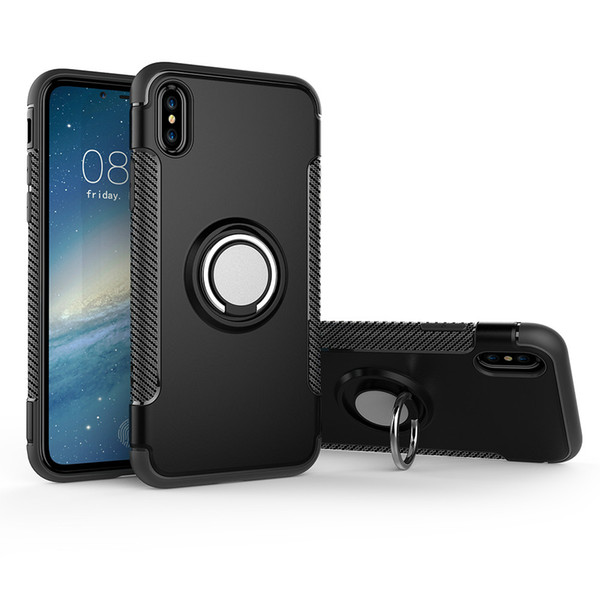 For iPhone X, Case 3 in 1 Built-in Metal Ring TPU&PC Dual Layer Armor for iPhone x 8 7 6 plus Cover Case