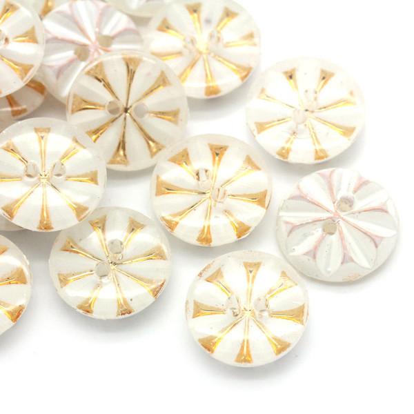 500pcs/lot1 13mm White bottom,golden pattern ,dots, round shape acrylic 2-hole sewing button sewing notions&tools acrylic buttons#00142#