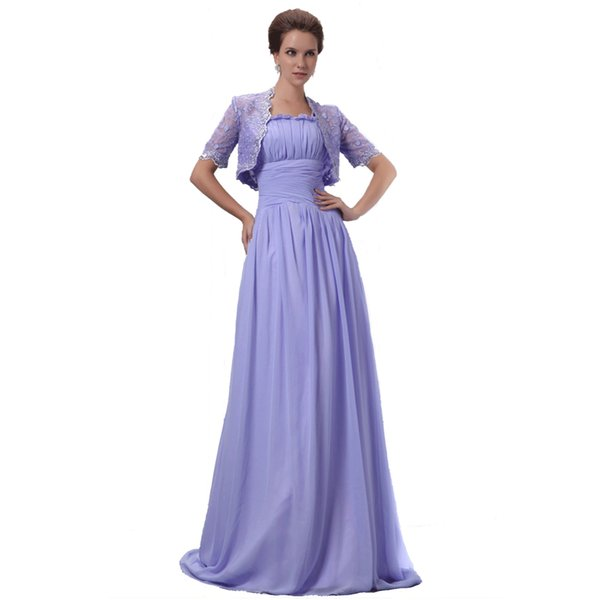 A-Line Style Mother Dress With Short Sleeve Lace Jacket Lavender Chiffon Dress 2017 Evening Mother Gown