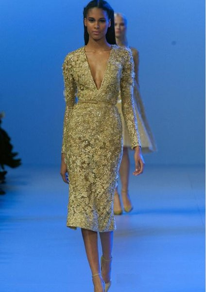 Elie Saab Tea Length Celebrity Evening Dresses Deep V Neck Long Sleeve with Empire Waist Sexy Sexy African Prom Gown