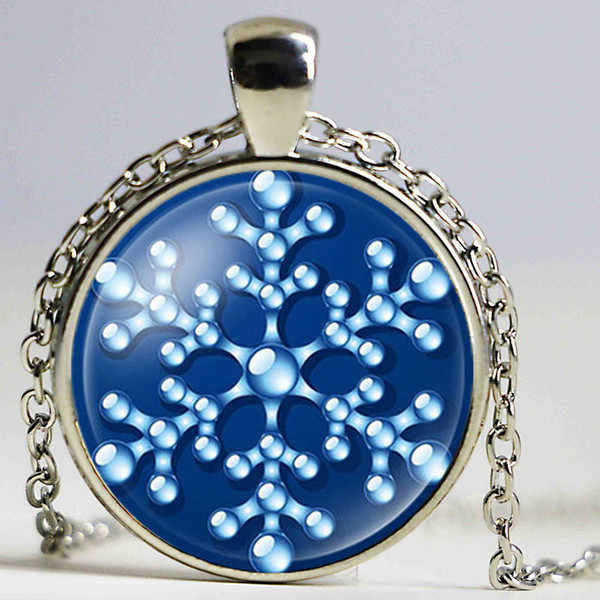 NingXiang Crystal Snowflake Photo Glass Cabochon Pendant Necklace For Women Silver Color Statement Maxi Necklace Christmas Gift