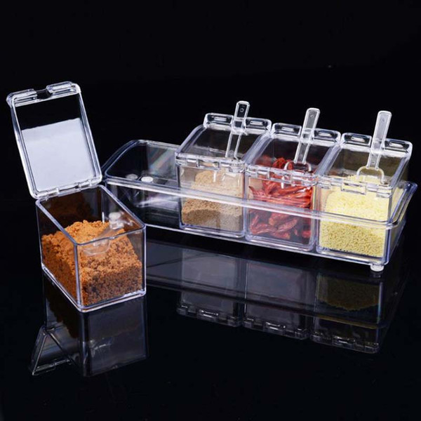 4pc In1 Acrylic Seasoning Box Clear Seasoning Rack Spice Pots Storage Container Condiment Jars Cruet with Cover and Spoon Kitchen essential