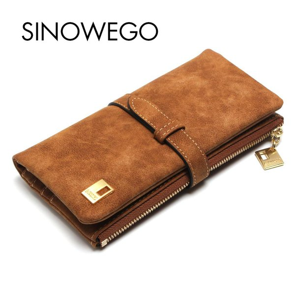 Wholesale- New 2017 Fashion Nubuck String Women Long Wallet Matte PU Leather Female Clutch Purse Solid Card Coin Holder Lady Money Clip Bag