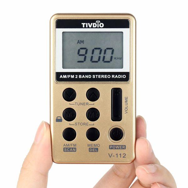 Wholesale-TIVDIO V-112 Mini Pocket Radio FM AM 2 Band Radio Multiband Radio Receiver Recorder Rechargeable Battery&Earphone Best F9202B