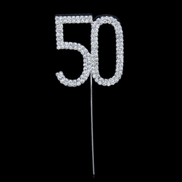 Wholesale- Rhinestone Number 50 Cupcake Topper 50th Birthdaay Party Cupcake Decoration Gold Wedding Anniversary Centerpieces