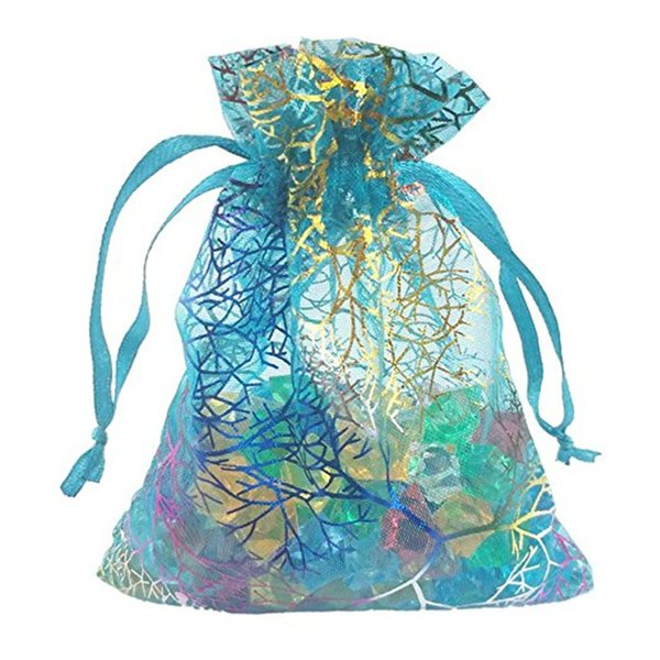 100pcs Blue Coral Organza Drawstring Pouches Jewelry Party Wedding Favor Gift Bags 3.5*4.7 in/9*12 cm