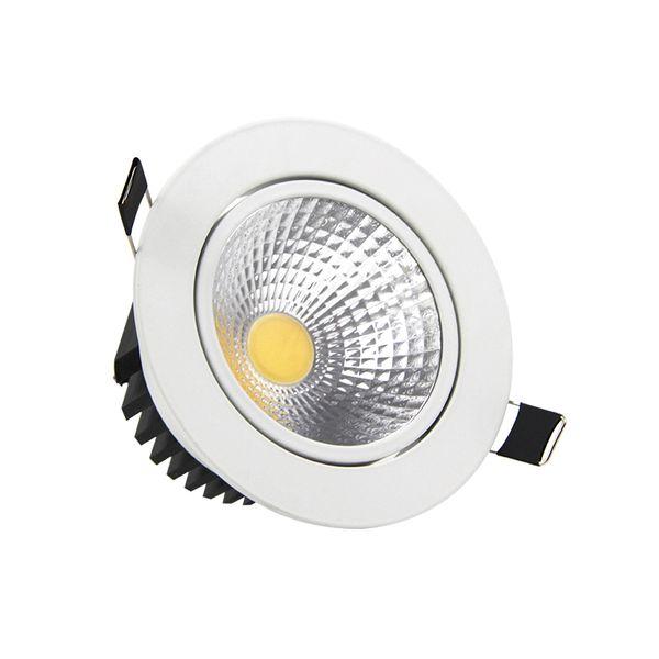 Super brillante Empotrable LED Regulable Downlight COB 5W 7W 9W 12W LED Luz del punto Decoración LED Lámpara de techo AC 110V 220V