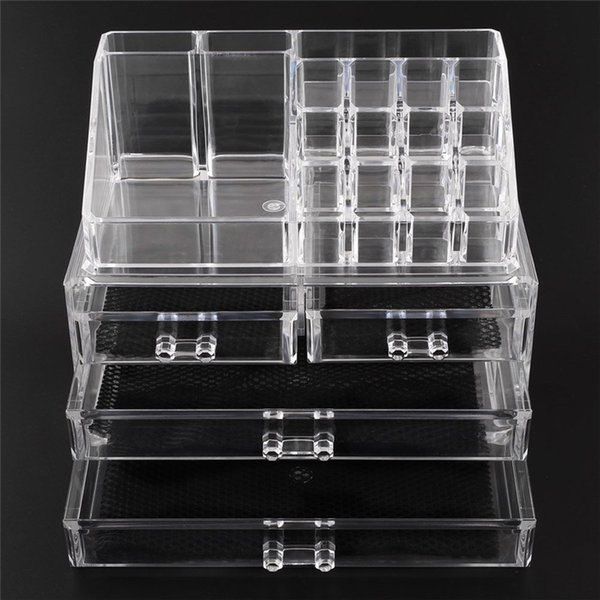 Acrylic Cosmetic Makeup Organizer Jewelry Display Boxes Bathroom Storage Case 2 Pieces Set W/ 4 Large Drawers Free Shipping