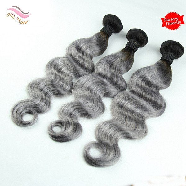 7A Ombre Human Hair Weave Bundles Two Tone 1B/Grey Body Wave 3Pcs/Lot Brazilian Peruvian Malaysian Indian Cambodian Virgin Hair Extension