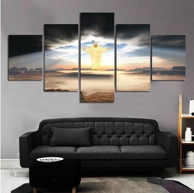 top popular Unframed 5 Pcs Modern Paintings Canvas Wall Art For Living Room the Lord Jesus Oil Painting Printed in Canvas Beautifull Pictures 2020