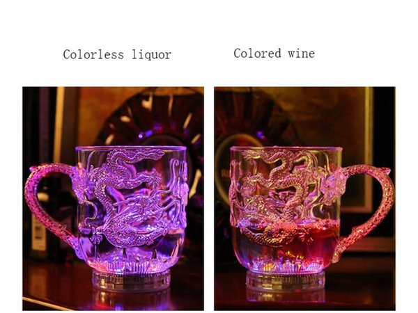 Wholesale-2016LED Light Color Flashing Beer Mug Drink Cup Glass Colorful Liquid induction Barware Party Christmas Halloween Holiday