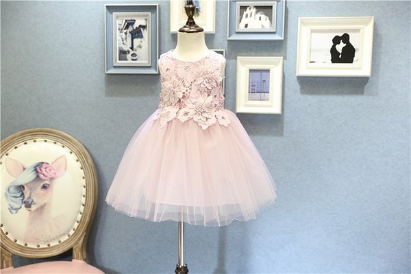 Sweet girls pink flower dress sleeveless baby girl prom halloween christmas party dresses kids tutu skirts children boutiques ball gown