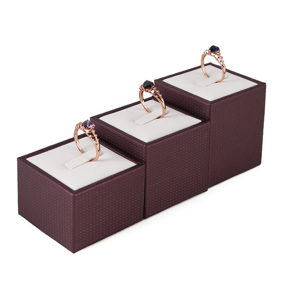 PU Leather Jewelry Ring Displays Prop for Retail Store Counter Showcase Jewellery Finger Rings Exhibition Trade Show Display Stand