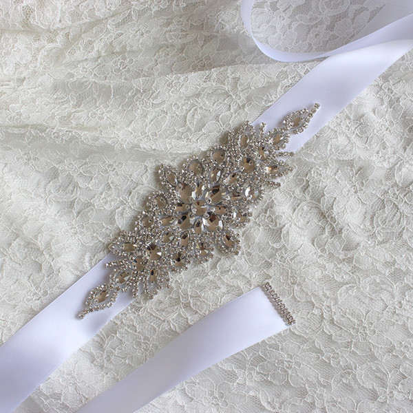 luxury Bridal Belt 2017 Rhinestone adornment Wedding Dress accessories Belt 100% hand-made White Ivory Blush Bridal Sashes For Prom Party