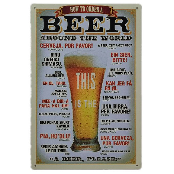 Cheers Beer around the world Retro rustic tin metal sign Wall Decor Vintage Tin Poster Cafe Shop Bar home decor