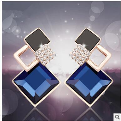 Fashion stud earrings in Europe and the temperament of blue crystal earrings office square overlay exaggerated earrings