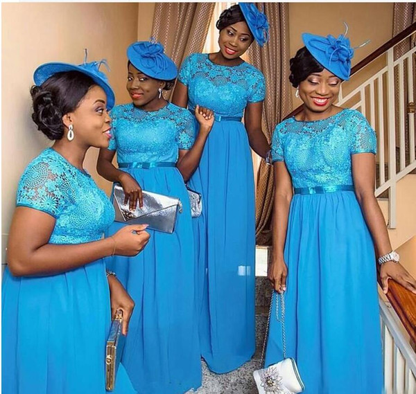 nigerian style bridesmaid dresses blue lace plus size short sleeves plus size wedding guest party maid of honor gowns 2017 cheap