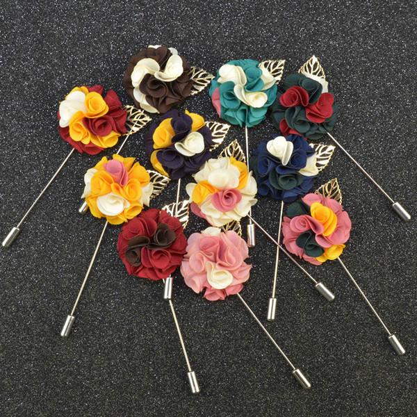 Tricolor flor broche de lapela pinos boutonniere artesanal vara com flores de tecido para terno do cavalheiro desgaste dos homens acessórios preço barato
