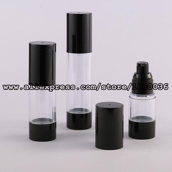 Şeffaf gövde havasız pompa ambalajı, havasız kozmetik ambalajı, havasız kozmetik şişeleri 50ml ile Toptan-50ml siyah taban