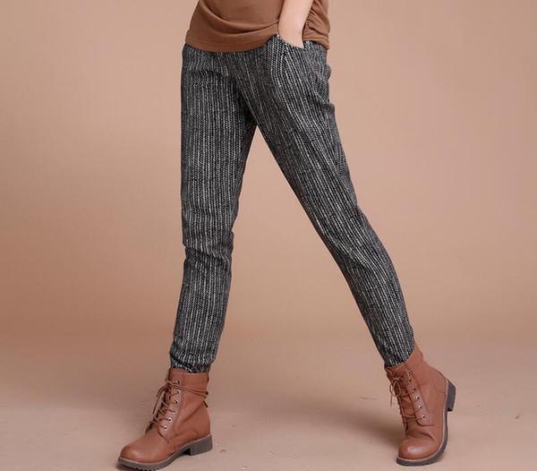 Brand new Winter new elastic waist cotton striped harem pants thick plus cashmere casual pants PW025 Women's Pants & Capris