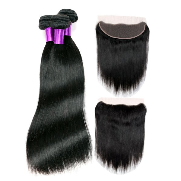 Indian Silk Straight Virgin Human Hair With Frontal Closure Cheap 3 Bundles With 360 Lace Band Frontal Closure 4Pcs Lot