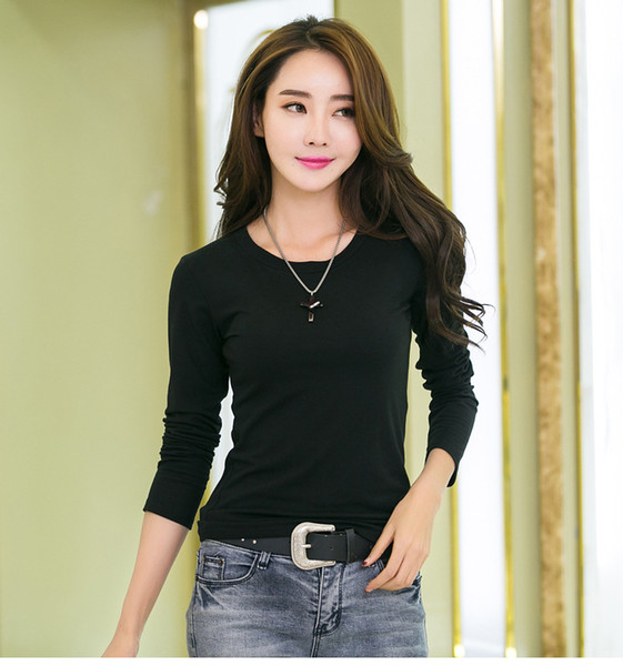 New High Quality 4 Color Simple T Shirt Women Solid color Tees Plain Cotton long sleeve T-shirt Female Tops Black