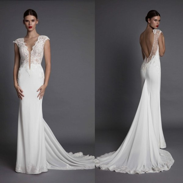 Berta Mermaid Backless 2017 Wedding Dresses Pearls Lace Applique Sheer Plunging Neckline Cap Sleeve Cheap Fishtail Bridal Gowns